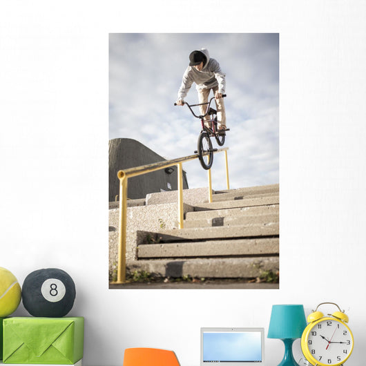 BMX Rider Grinding Handrail Wall Decal