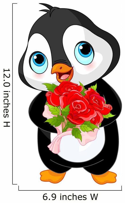 Cute Valentine penguin Wall Decal