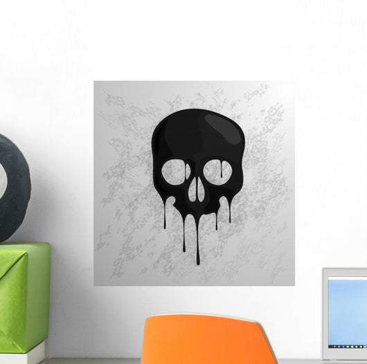 Black Dripping Skull Wall Decal