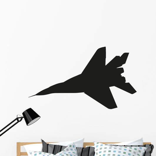 Jet Fighter Airplane Vector Silhouette Wall Decal Wallmonkeys Com