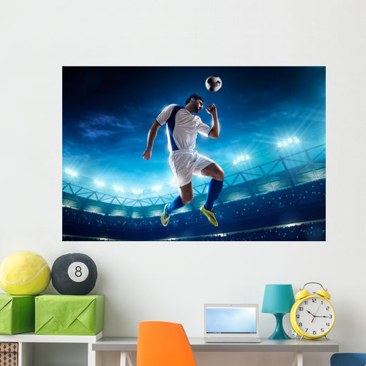 Soccer Player In Action Wall Decal 3 Wallmonkeys Com