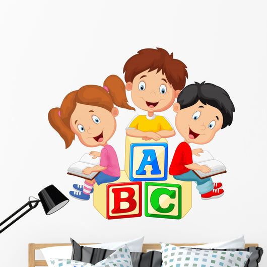 Children reading book and sitting on alphabet blocks Wall Decal