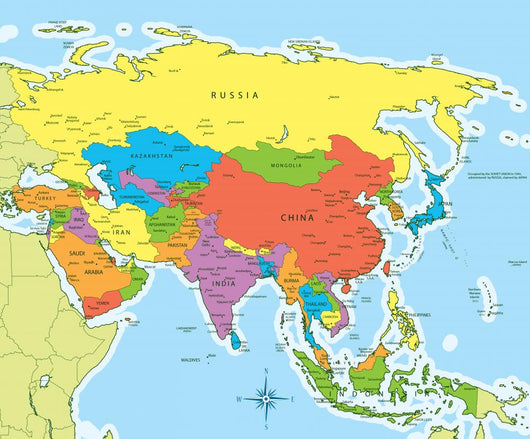 Asia Map Of Countries.Asia Map Countries And Wall Mural Wallmonkeys Com