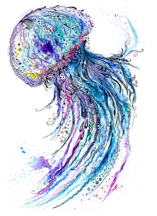 Jelly fish watercolor and ink painting Wall Decal