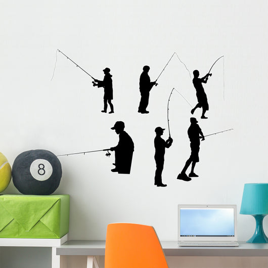 Fishing Silhouette on white background Wall Decal