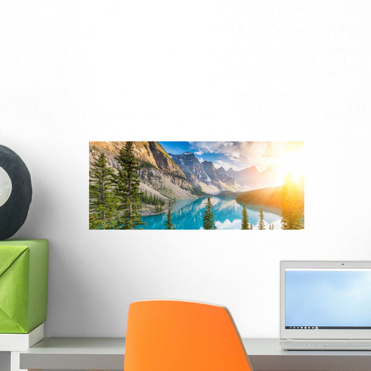 Moraine Lake Rocky Mountains Wall Decal Panoramic Wall Decal