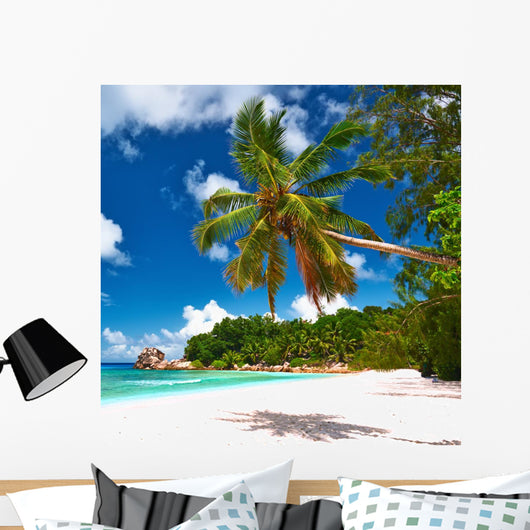 Beautiful Beach with Palm Wall Decal