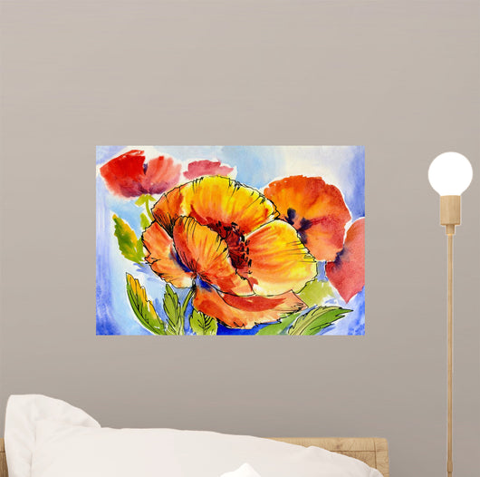 Watercolor Painting Bouquet Poppies Wall Decal