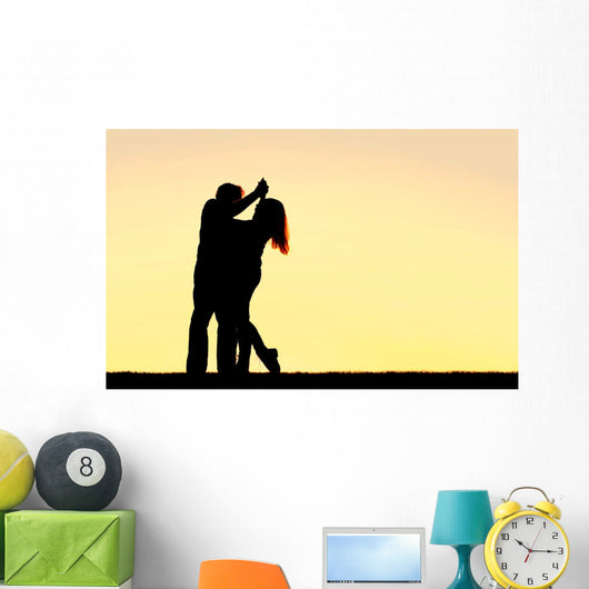 Silhouette Happy Young Couple Wall Decal Design 2