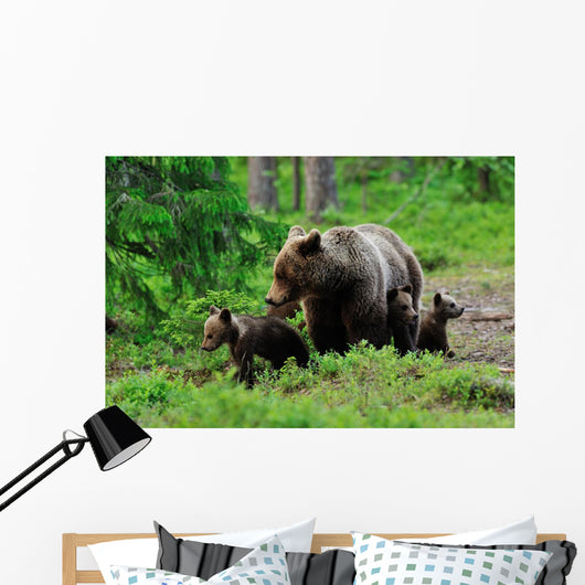 Brown Bear with Cubs Wall Decal