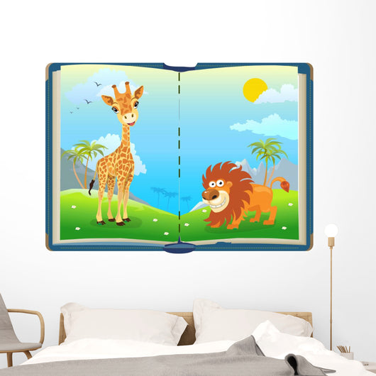 Book about Jungle Animals Wall Decal