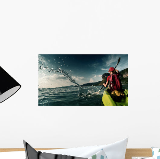Woman with Kayak Wall Decal Design 1