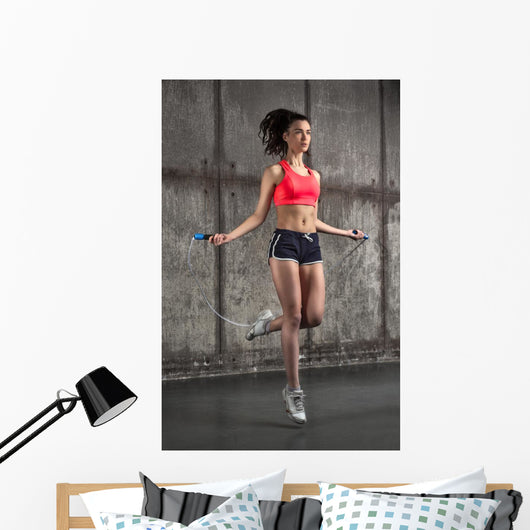 Caucasian Woman Jumping Rope Wall Decal