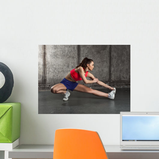 Fit Woman Stretching Her Wall Decal