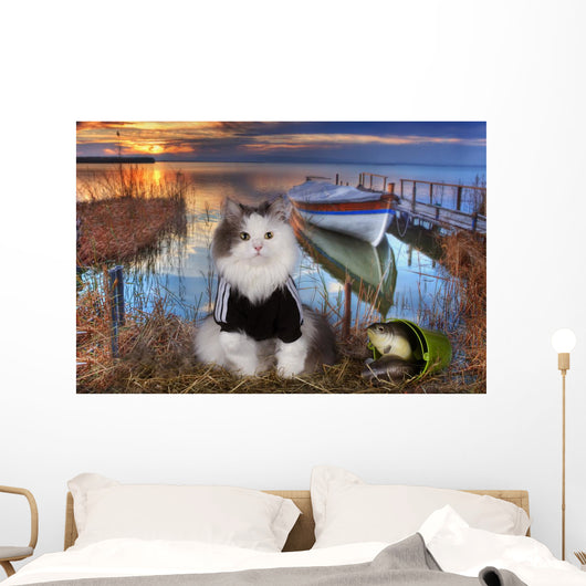 Cat Fishes Pond Sunset Wall Decal