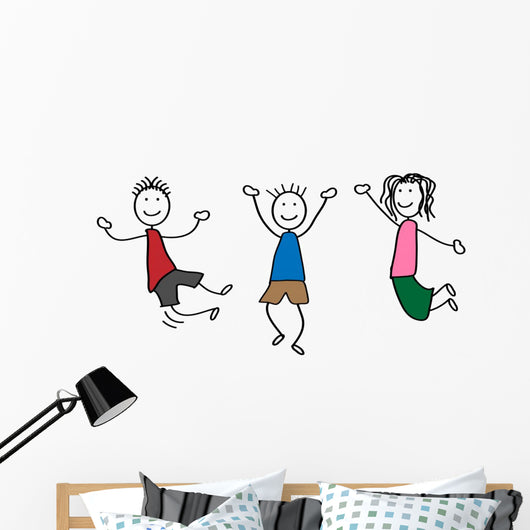 Merry Stick People Wall Decal