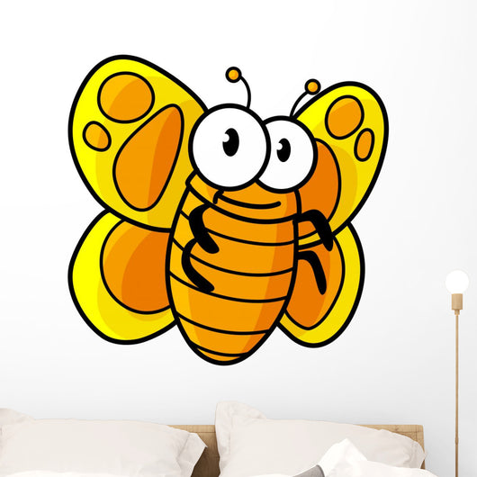 Yellow Spotted Butterfly Cartoon Wall Decal