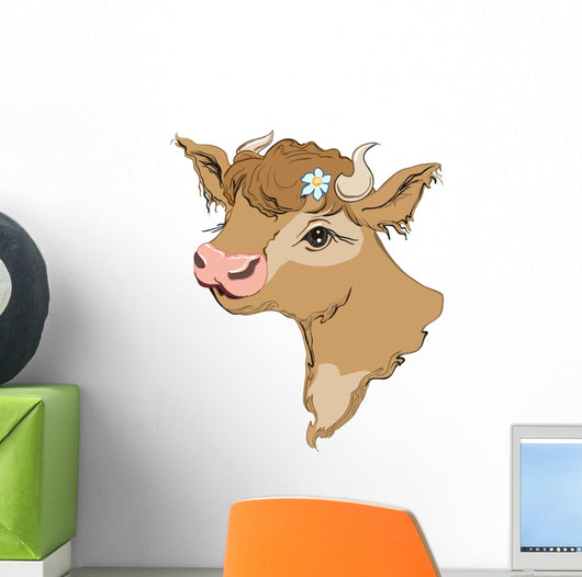 Brown Cow Head with Wall Decal