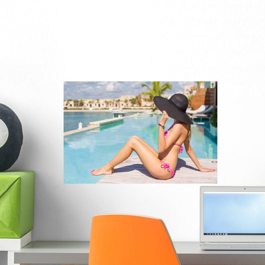 Woman Relaxing Luxury Resort Wall Decal