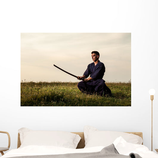 Kendo Fighter Holding Bokuto Wall Decal