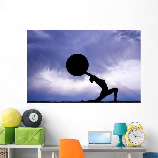 Pilates Silhouette Sunset Wall Decal