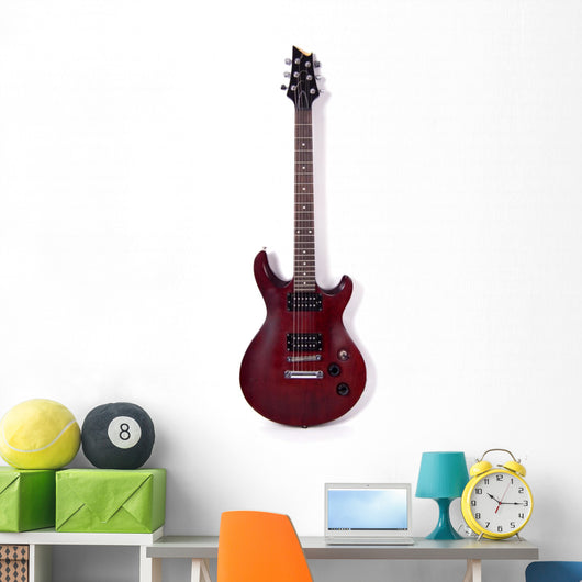 Wooden Electric Guitar Wall Decal