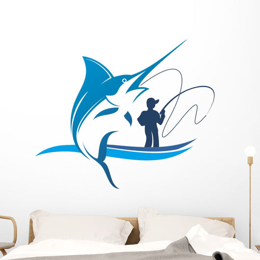 Fishing Marlin Club Wall Decal