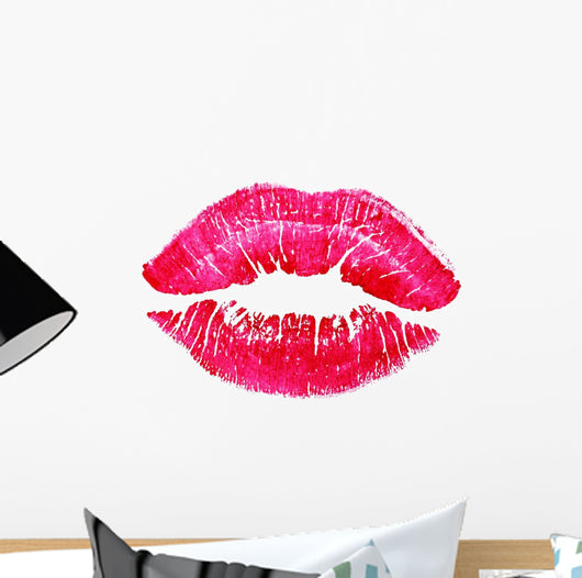 beautiful red lips isolated on white Wall Decal