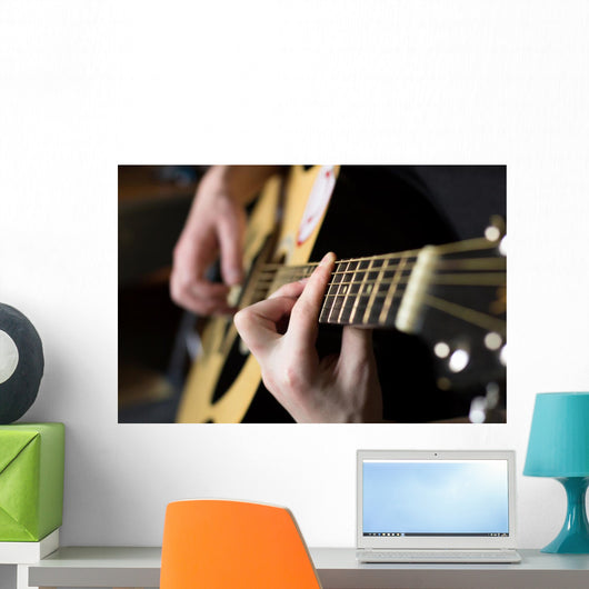Practicing Playing Guitar Handsome Wall Decal
