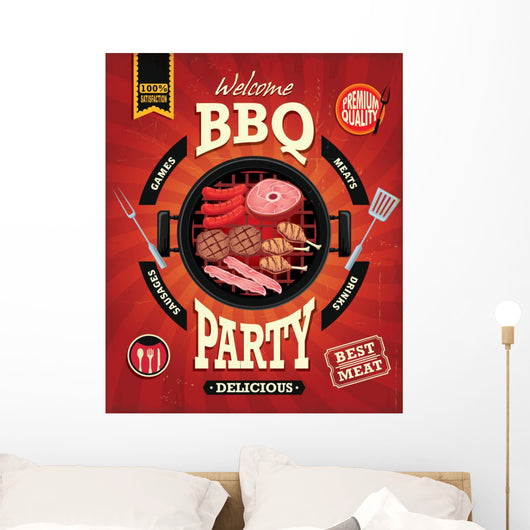 Vintage BBQ Party Menu Wall Decal