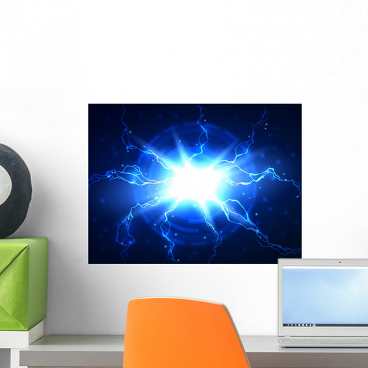 Abstract Blue Lightning Vector Wall Mural Wallmonkeys Com