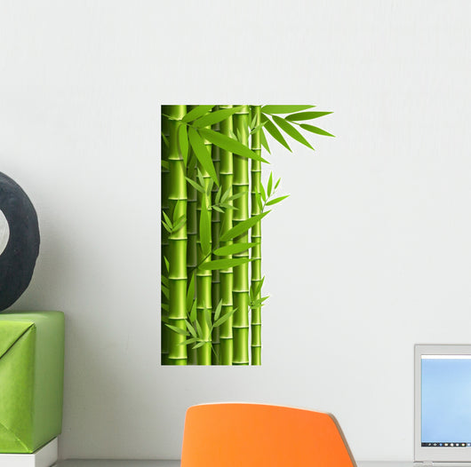 Green Bamboo Grove White Wall Decal – WallMonkeys com