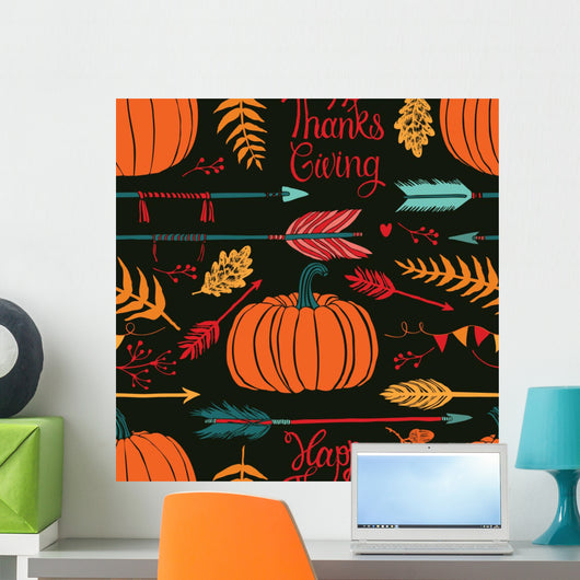 Happy Thanksgiving Dark Wall Decal