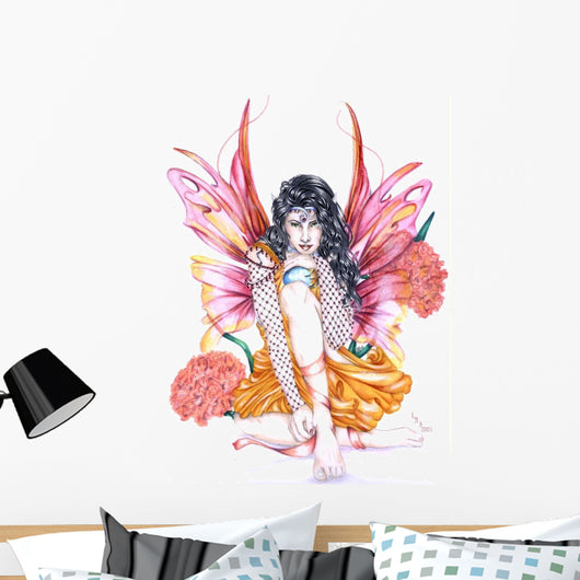 Carnation Fairy Wall Decal