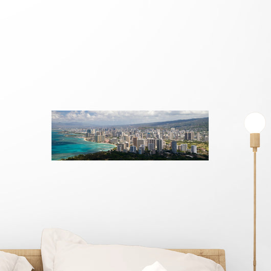 Honolulu Skyline Wall Decal Panoramic Wall Decal