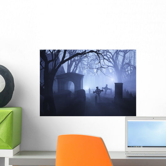 Misty Overgrown Cemetery Wall Decal