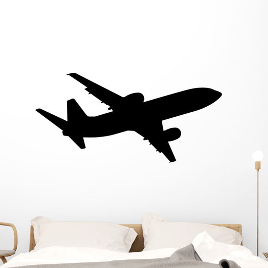 Plane Silhouette White Vector Wall Decal
