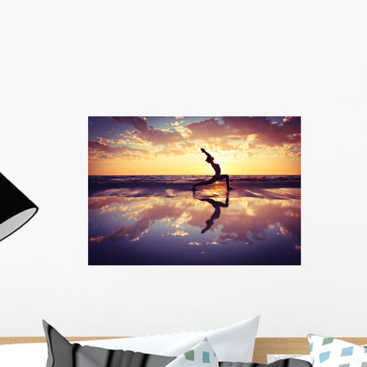 Silhouetted Woman Practicing Yoga on the Beach Wall Decal