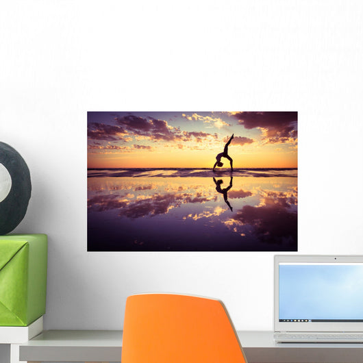 Silhouetted Woman Practicing Yoga at Sunset Wall Decal