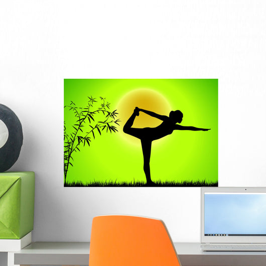 Lime Bamboo Yoga Wall Decal