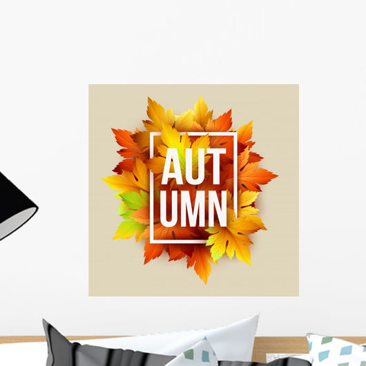 Autumn Typographic Fall Leaf Wall Decal