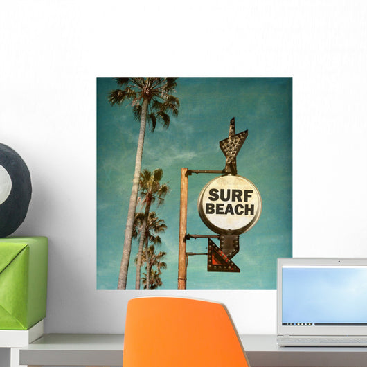 Vintage Surf Beach Sign Wall Decal