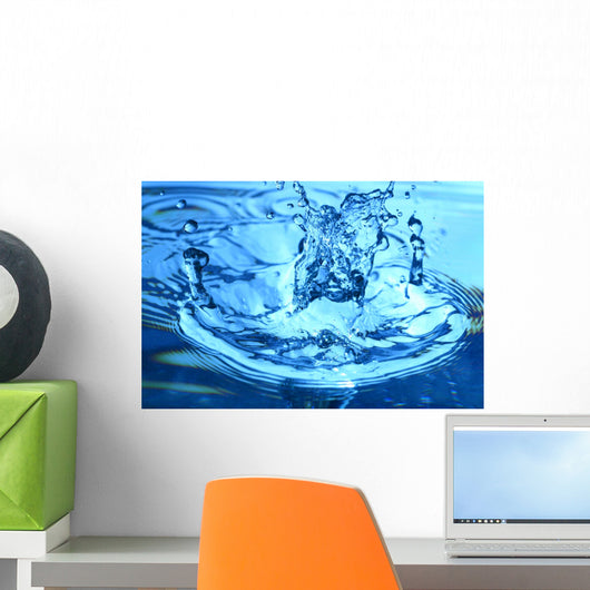 Blue Water Splash Macro Wall Decal