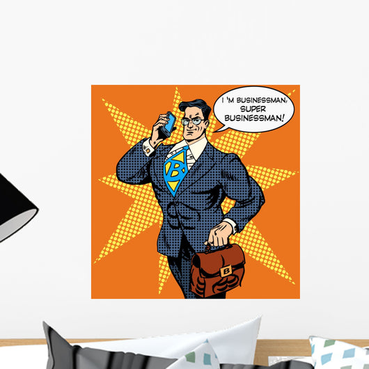 Super Businessman Answering Phone Wall Decal