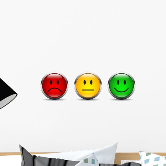 Rating Smiley Icon Set Wall Decal