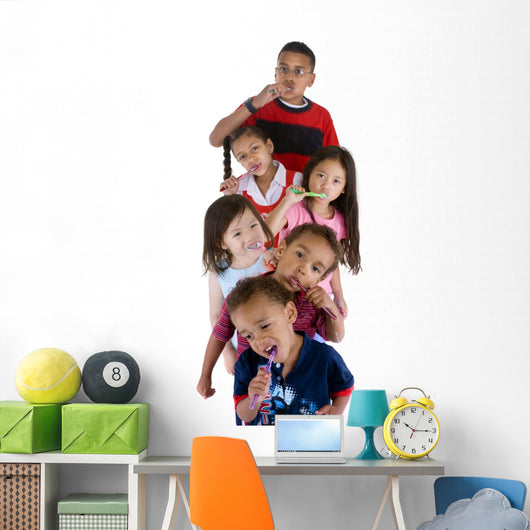 Group of Children Brushing Their Teech Wall Decal