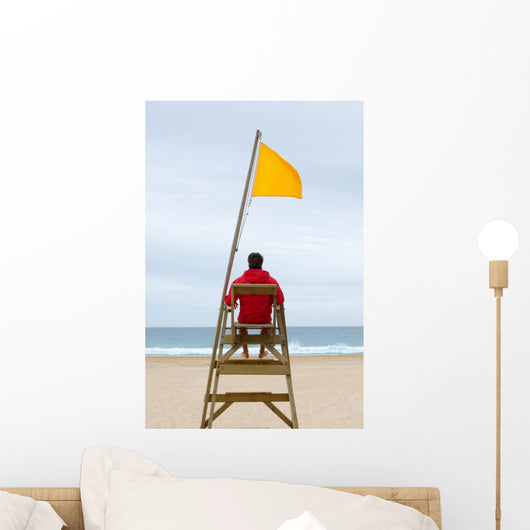 Lifeguard Sitting His Chair Wall Decal