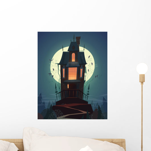 Spooky Hilltop Mansion Halloween Wall Decal
