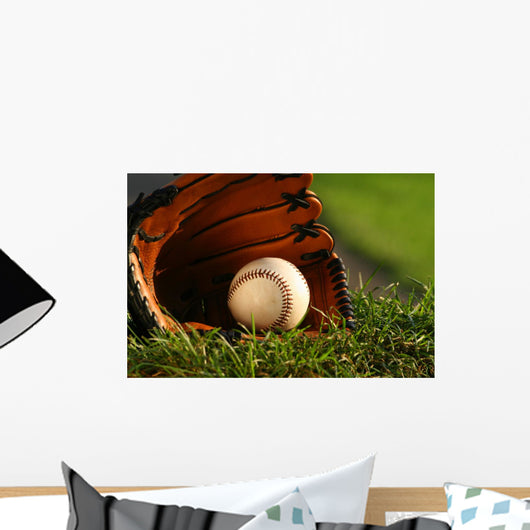 Baseball and Glove Grass Wall Decal