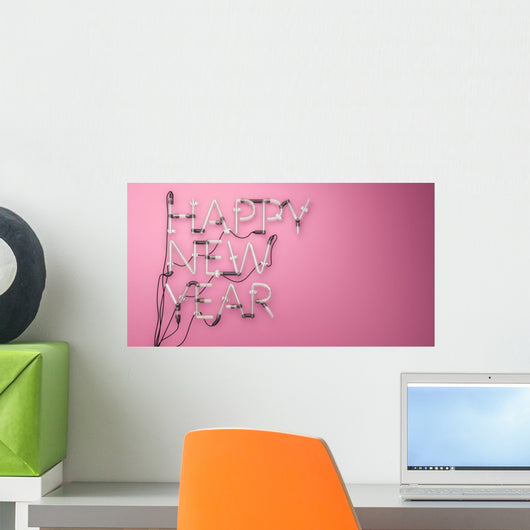 Happy New Year Neon Wall Decal